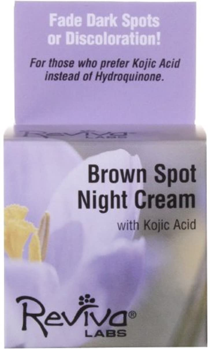 ここに心配後方海外直送品 Reviva Brown Spot Night Cream, with Kojic Acid EA 1/1 OZ