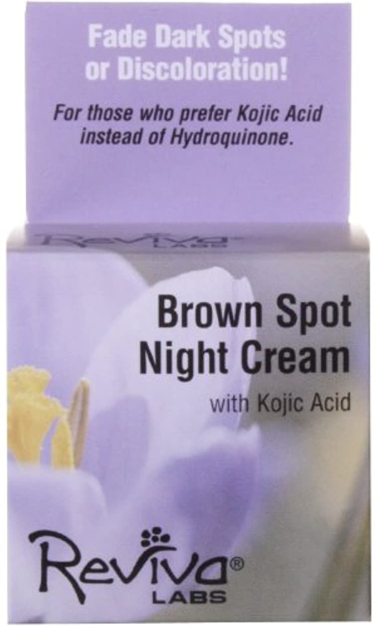 ディスコ薬局報奨金海外直送品 Reviva Brown Spot Night Cream, with Kojic Acid EA 1/1 OZ