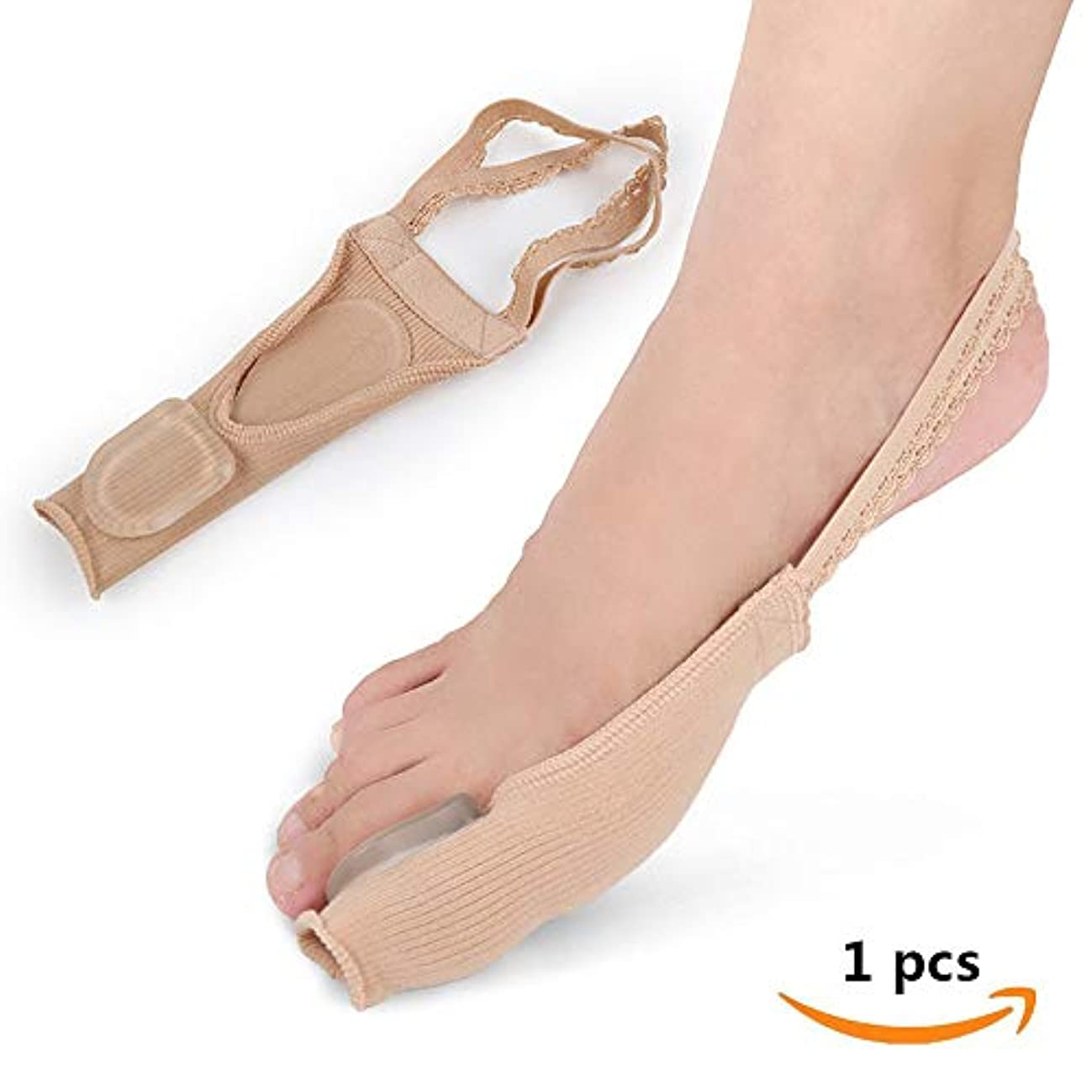 長々と懐電話する外反母趾装具とゲルパッド外反母趾包帯スプリント親指スリーブ袖ソックス重複つま先スプレッダー親指、左右の足ユニバーサル(1pcs),S-EU:35-37