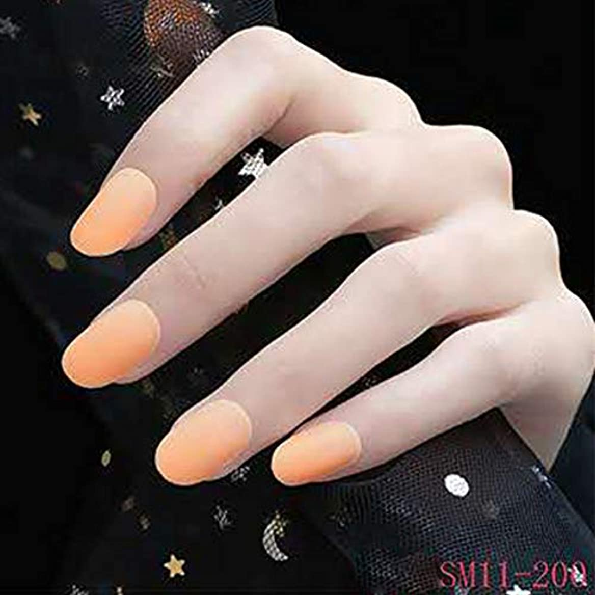 技術者対角線もう一度Symboat 24個の女性の偽爪のヒントDIYソリッドカラーマットフロストラウンド偽爪