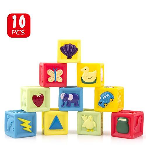 Heytoos 積み木 音の出る積み木 10ピース 知育玩具 つみき ブロック 赤ちゃんおもちゃ 柔らかおもちゃ 想像...