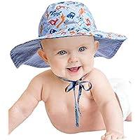 Geyoga Baby Hat Toddler Summer Bucket Hat Kid Wide Brim Sun Protection Hat Children Beach Swimwear Bucket Cap with Chin Strap, Cartoon Animal Pattern