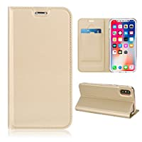 Happon, iPhone Xs Max Case Wallet Leather, iPhone Xs Max Case with Card Holder and Kickstand, iPhone Xs Max Wallet Case with 専用カバー, 専用カバー Case Replacement for iPhone Xs Max Golden