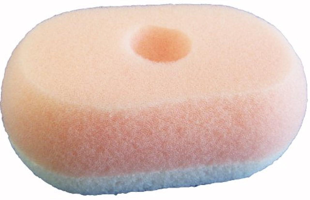 オゾン空中付き添い人オーエ ボディスポンジ ピンク 約縦13.3×横8.3×奥行5.2cm nf ソフト&ハード ボディソープを入れる くぼみ付き