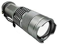 オーディオファン 小型LEDライト 高輝度LED (CREE社 Q5 最大107ルーメン) クリップ ズーム フォーカス 点灯 点滅 日本国内より発送 (チタングレー)