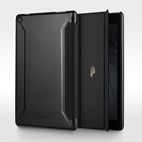 Fire HD 8 ケース Poetic -Slimline- [軽量] [ウルトラスリム] PUレザー製 スリムフィット 三つ折りカバースタンド 第6世代 Amazon Fire HD 8 (2016) 用 ブラック/ブラック