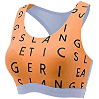 Cozy Sports Vest Female Yoga Quick-Drying Gathered Without Steel Ring Fitness Yoga Stereotyped Sports Vest (Color : Orange, Size : 80A)