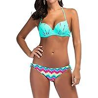 QIYUN.Z Women Solid Color Cross Parcel Bikini Set 2 Piece Swimsuit Swimwear Sexy