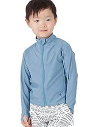 KICKS(キックス) ラッシュガード キッズ フードなし 前開き フルジップ シャツ 全20色柄 90~150サイズ 長袖 UVカット UPF50 + 指穴つき