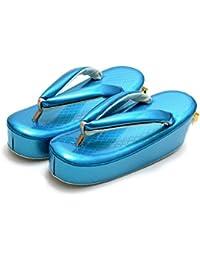 [ 京都きもの町 ] fussa 草履単品 ブルー リボン ひし型押リボン飾り 成人式 結婚式の振袖に 振袖草履 華やか草履