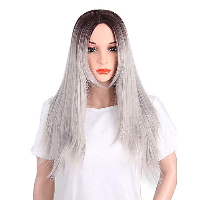 メーター照らす悪魔かつら ハイエンドの女性のヘアピース、マルチカラーの女性の長いかつら化学繊維高温シルク素材のかつら、日常の使用に適したDIYの髪のかつらさまざまな祭り (Color : Gray)