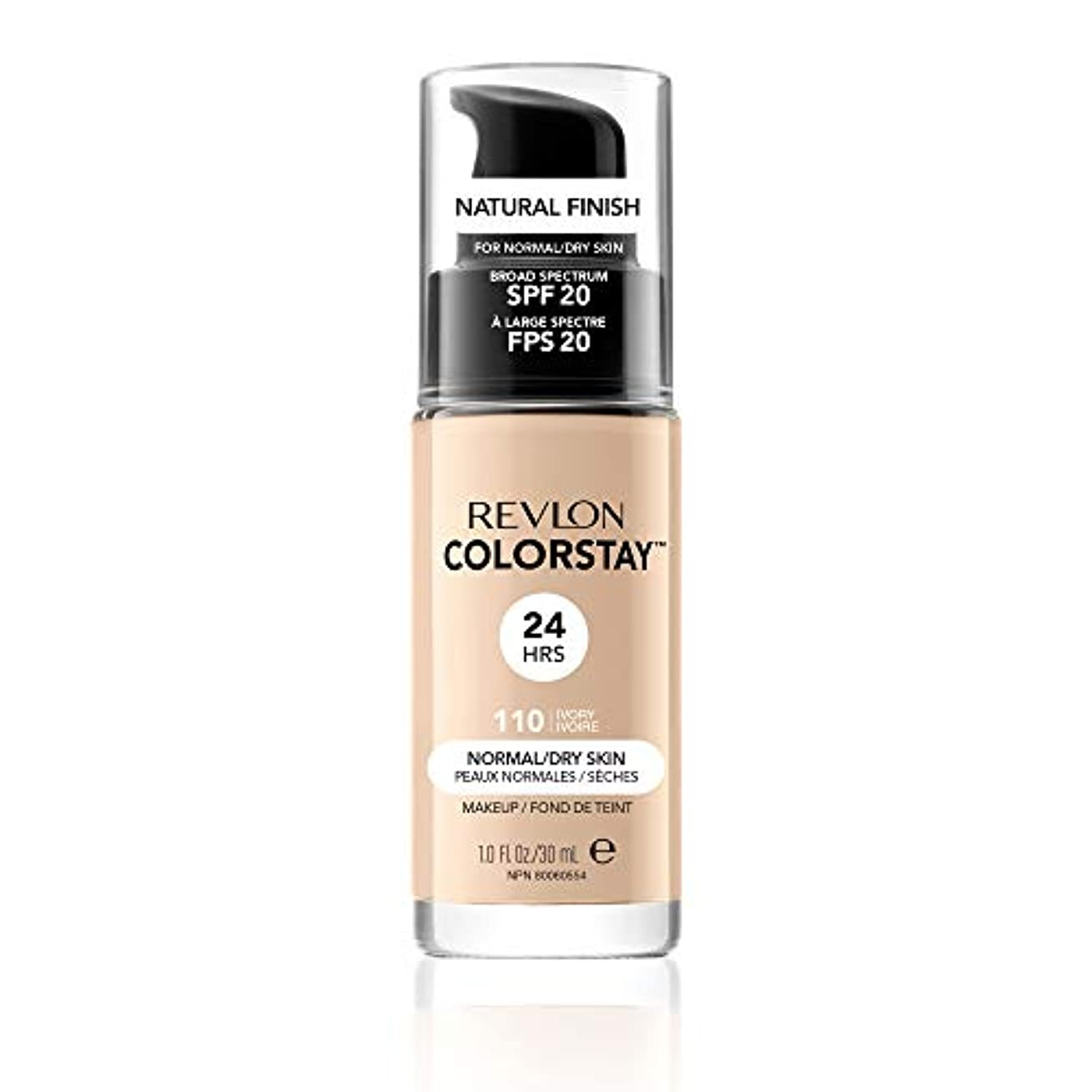 世界卑しい速度Revlon ColorStay Foundation for Normal/Dry Skin, 110 Ivory with pump