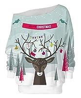 Keaac レディースクリスマスツリープリントプルオーバーオフショルダールーズブラウススウェットシャツ 1 XL