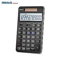 Aibecy【OSALO】電卓 12桁 実務電卓 金融電卓 税率 オフィス ビジネス ソーラーデュアル電源 黒