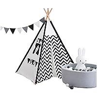 YHJM インディアン 子供用 テント 子供用 屋内 プレイハウス 読書 コーナー スパイア ペナント ブラック シルク
