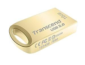 Transcend USBメモリ 16GB USB 2.0 キャップレス ゴールド 耐衝撃 防滴 防塵 (無期限保証) TS16GJF510G