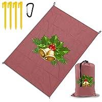 メリークリスマスのアイコン レジャー旅行シートピクニックマット防水145×200センチ折りたたみキャンプマット毛布オーニングテントライトと収納が簡単ポータブル巾着