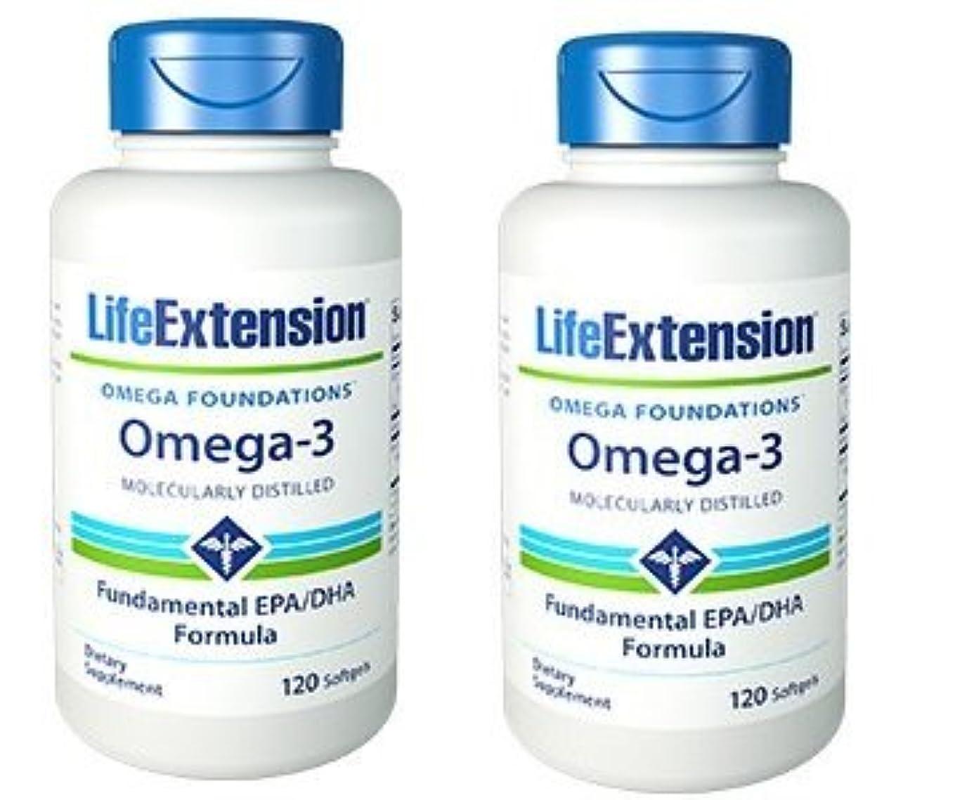 リズム神経衰弱閉塞【海外直送品】【2本セット】Life Extension - Omega-3 as many commercial fish oils 120 ソフトジェル