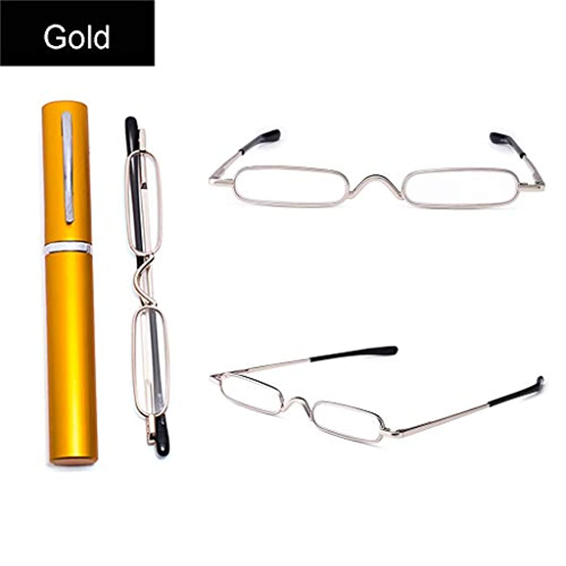 容量材料陰気ミニスリムメタル老眼鏡 マウサーステンレスフレーム男性と女性のための読書+ 1.0、+ 1.5、+ 2.0、+ 2.5、+ 3.0  ゴールド、グレー、パープル、レッド