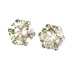【 DIAMOND WORLD 】 PT900 天然ダイヤモンド ピアス 1.0ct 【6本爪タイプ】 ダイヤモンド【 Light Brownカラー VS~SIクラス Goodアップ】