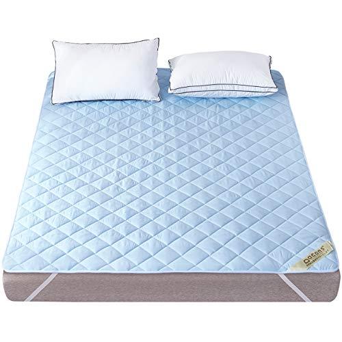 ベッドパッド 快適敷きパッド 抗菌防臭加工 ベッドシーツ 綿100% 敷きふとんカバー 吸湿速乾 丸洗いOK 防ダニ パッド 裏地がズレ防止素材使用 マットレス・パッド ブルー ダブル・140X200cm