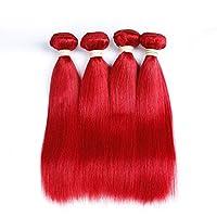 """CLAUDIAR 赤毛ブラジルストレートヘア100%未処理のヘアバンドル1バンドル人間の髪の毛の織り方(10""""-26""""、1バンドル、100g)女性用合成かつらレースかつらロールプレイングかつら (色 : レッド, サイズ : 26 inch)"""