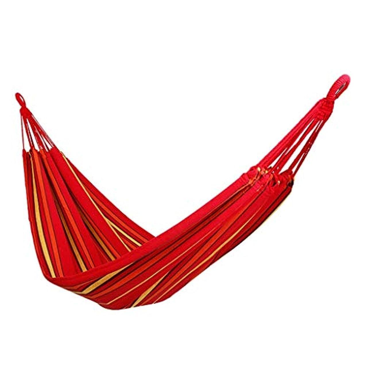 アブセイクリック過言MSchunou ハンモック屋外キャンバスシングル厚いキャンプ屋内ホーム寝ているキャンプスイングアンチロールオーバー (色 : 赤)
