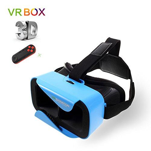 (レモンダ)Lemonda 3D VR メガネ ヘッドセット 4.7-6インチのスマホ対応 ゲームコントローラーに付き〖ブルートゥース〗 焦点・視界距離を調整できる (ブルー2) -