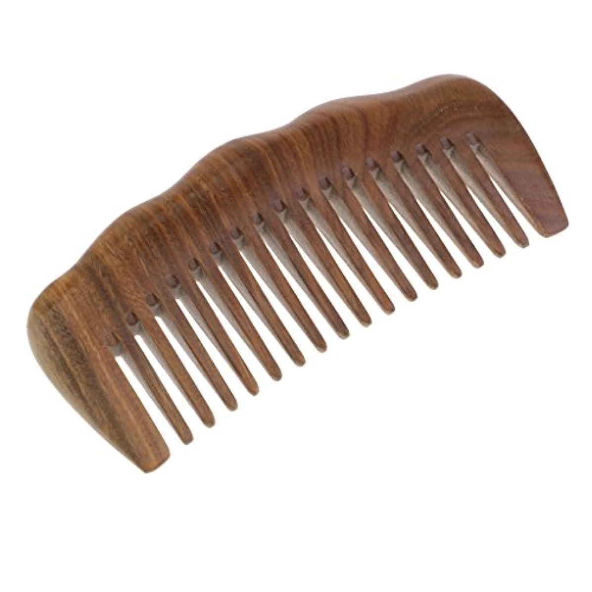 接続詞自分の思い出させる緑のビャクダンの毛の櫛 - 巻き毛のための広い歯の木のもつれ解除の櫛 - いいえ静的で自然な香りの木製の櫛
