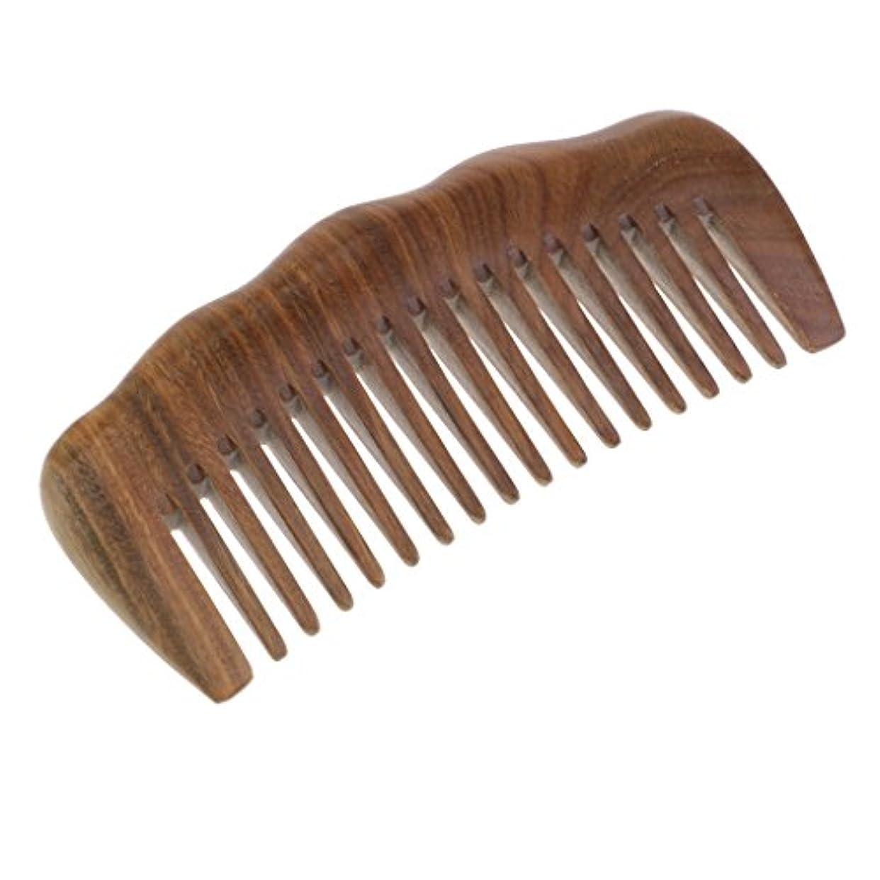 あるコンデンサー性能緑のビャクダンの毛の櫛 - 巻き毛のための広い歯の木のもつれ解除の櫛 - いいえ静的で自然な香りの木製の櫛