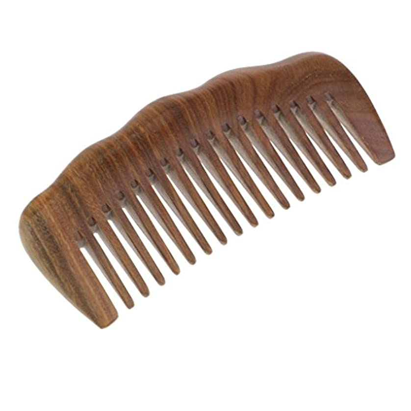 アーク実施する大事にする緑のビャクダンの毛の櫛 - 巻き毛のための広い歯の木のもつれ解除の櫛 - いいえ静的で自然な香りの木製の櫛
