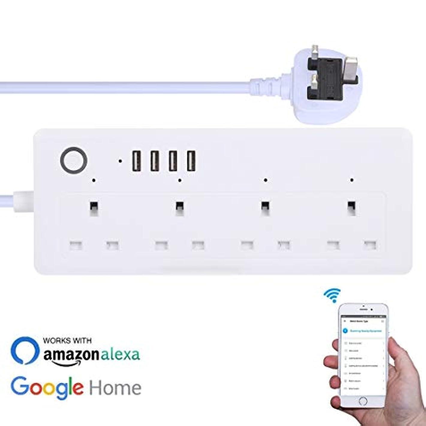 航海の運動よろめくLUOWANXIU スマートプラグ スマートコンセント 4 x USBポート+ 4 x英国プラグジャック13A最大出力WiFiリモコンスマートパワーソケットは、Alexa&Google Home、AC 100-240V、UKプラグで動作します (色 : Color1)