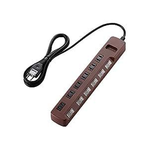 ELECOM 電源タップ color style 雷ガード 省エネ 個別スイッチ 6個口 2m ブラウン T-BR04-2620BR