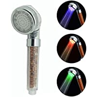シャワーヘッド 節水7色LEDカラフルなアニオンホームハンドヘルドシャワーヘッド 塩素除去 高水圧 LEDライト式耐久性加圧(L,3色)