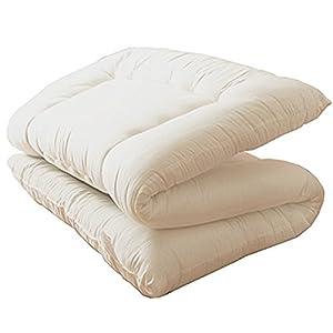 EiYU 敷き布団 3層ボリューム 洗える布団【固綿入り 三層構造】 アイボリー シングル