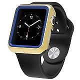 Apple Watch プレミアムプロダクションケース、Poetic [Duo Lite]Apple Watch 38mm ケース 薄型デザインでショックプロダクション **新型** [Duo] [ゴールデン/ダークブルー] ‐[2重のスクリーン保護を含む] PC/TPUショックプロダクションの二重保護で、プレミアムデザインを持ち、衝撃に強いです。そして、Apple Watch 38mm (2015) の色に合わせます。ゴールデン/ダークブルー(3年間の保証が付いています。)