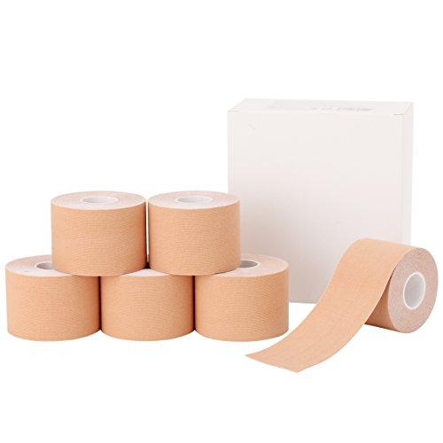 【全3サイズ】< 7ウェルネ > キネシオテープ ベージュ ボックス 5cm幅×6巻 [ テーピング...