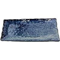 美濃焼 和風カフェシリーズ 亀甲 長角皿 藍の雪 DK-0310