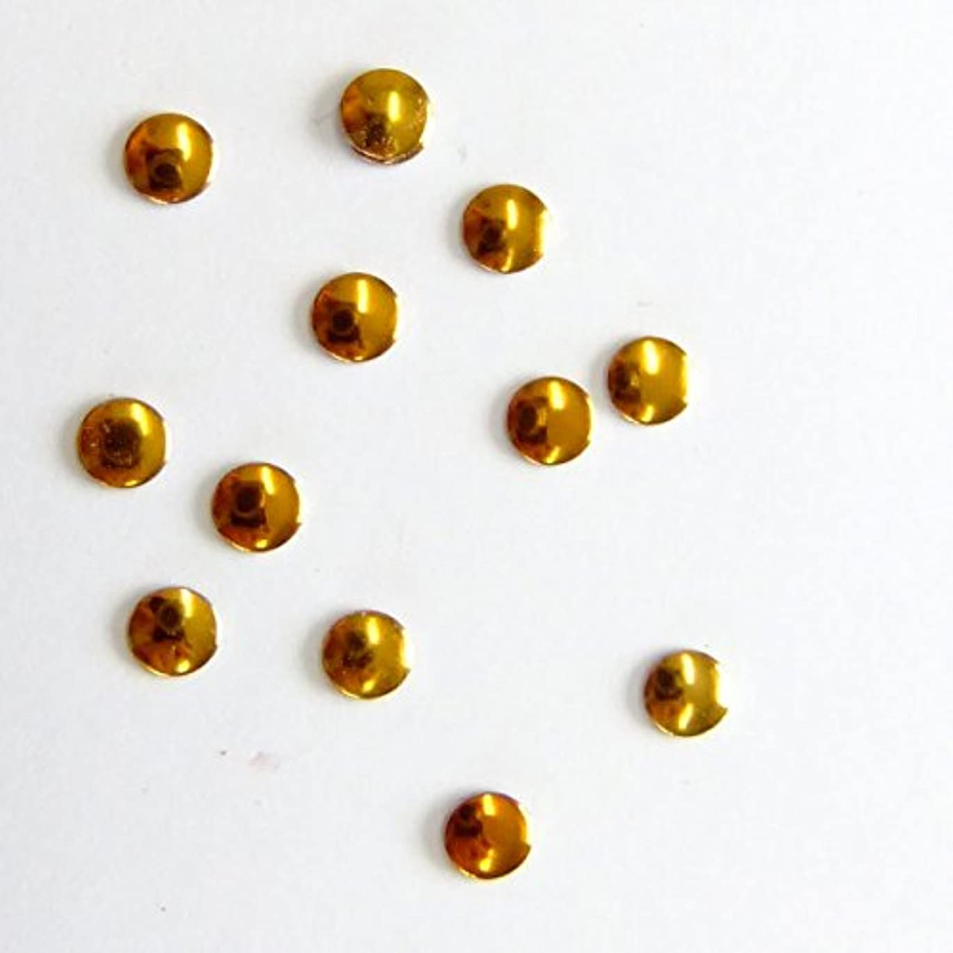 マント作り上げる控えめなミスティックフレース ネイル用ストーン メタルスタッズ サークル 3mm ゴールド 50P