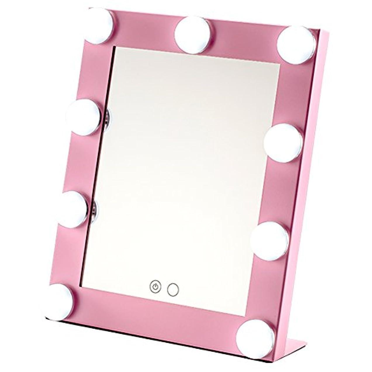 シャッフル上級まあOrara beauty 化粧鏡 女優ミラー led化粧ミラー メイクアップミラー LEDライト付き ハリウッド式スタンドミラー 9*3W LED電球付き 2way給電タイプ 卓上ミラー (ピンク)