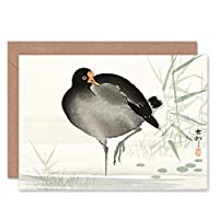 Moorhen Bird Ohara Koson Greeting Card With Envelope Inside Premium Quality 鳥