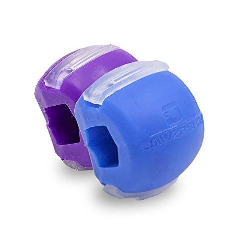 輸血太字温帯Jawzrsize フェイストナー、ジョーエクササイザ、ネックトーニング装置 (20/40 Lb. 抵抗) 2パック - レベル1と2 - 青/紫