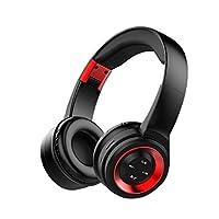 ワイヤレス ヘッドホン Bluetooth ヘッドフォン 高音質 折りたたみ式 ケーブル着脱式マイク付き (レッド)