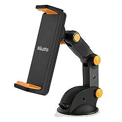 Nikatto 車載 ホルダー 三軸 アーム 角度 自由に調整可 スマホ タブレット 3.5インチ~10.1インチ 大型スマホ対応