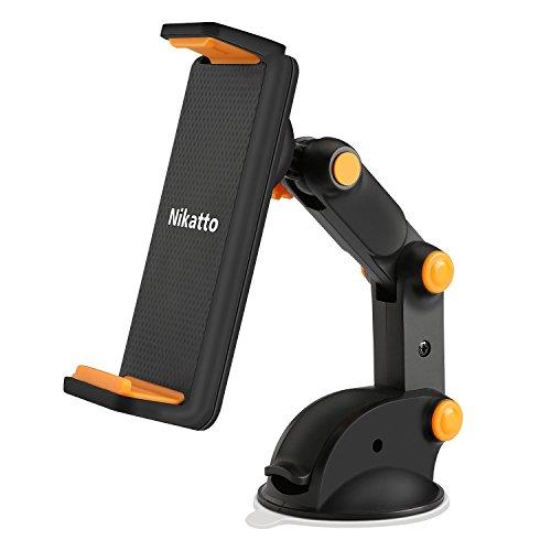 Nikatto【進化版】車載ホルダー 三軸 アーム 角度 自由に調整可 スマホ タブレット 3.5インチ〜10.1インチ 大型スマホ対応
