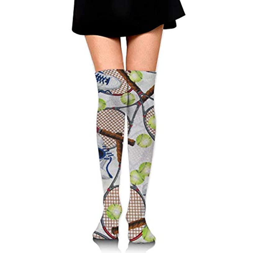 夕暮れ太平洋諸島真っ逆さまMKLOS 通気性 圧縮ソックス Breathable Extra Long Cotton Mid Thigh High Crazy Tennis Exotic Psychedelic Print Compression...