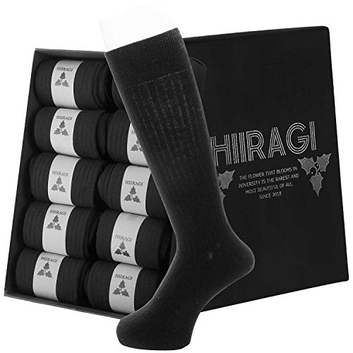 (ヒイラギ) HIIRAGI 靴下 メンズ ビジネスソックス 【 丈の長さ改良 10足セット 】 24~28cm 抗菌 防臭 吸収速乾 通気性抜群 フォーマル くつした 綿 (細リブ・ブラック箱入り)