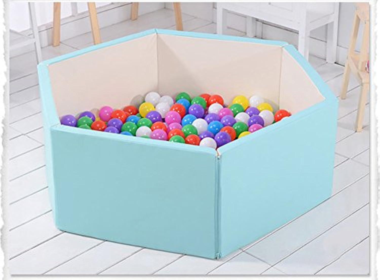 室内折りたたみベビープレイペンボーイズガールズプレイヤードクッション多目的調節可能な子供幼児6パネル安全センター (色 : 青)