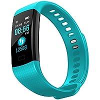 心拍モニター、JAGETRADE Y5 Bluetoothスマートバンドブレスレット心拍モニター歩数計フィットネストラッカー、青