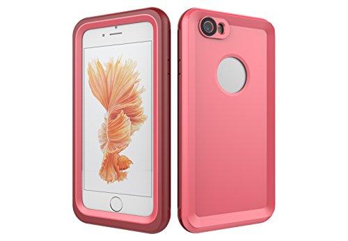 Iphone 6/6S 防水電話ケースは、HBER IP68完全密閉水泳ダイビング水中防塵耐雪性の耐震ヘビーデューティケースカバーは、iphone6/6Sのために敏感な画面タッチ指紋認証ロック解除をサポートしています (ピンク)